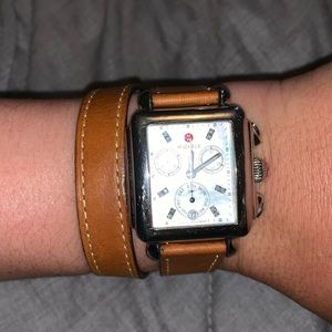 Michele Double Leather Watch Strap